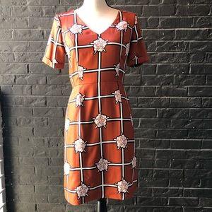 Fossil Madmen Style Rust Orange Silk Print Dress
